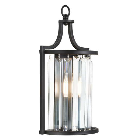 Victoria 1 Light Wall Light In Black With Crystal Glass