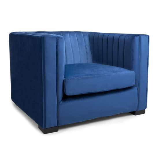 Victoria Brushed Velvet Armchair In Ocean Blue
