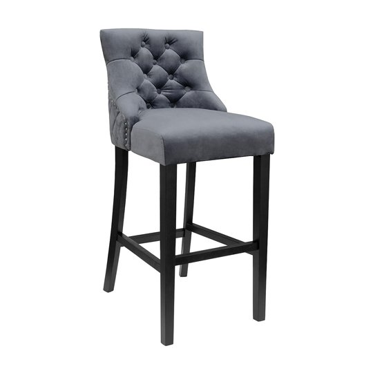 Victoria Dark Grey Velvet Bar Stool Black Wooden Frame