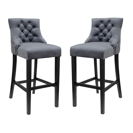 Victoria Dark Grey Velvet Bar Stool In Pair
