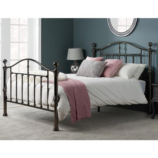 Victoria Steel King Size Bed In Black Nickel