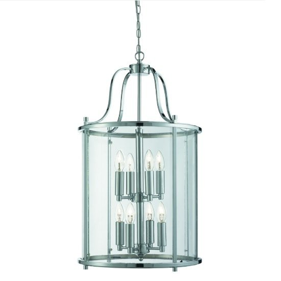 Victorian 8 Light Lantern In Chrome With Clear Glass Panels