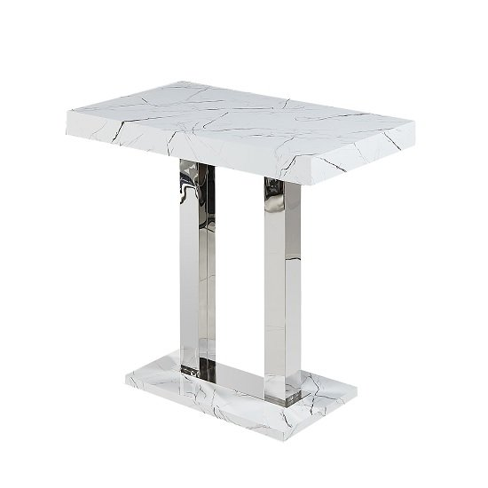 Vida Marble Effect Bar Table Rectangular In Gloss Finish
