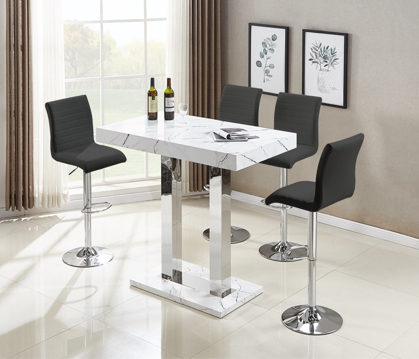 Vida Bar Table In Glossy Marble Effect With 4 Ripple Black Bar Stools