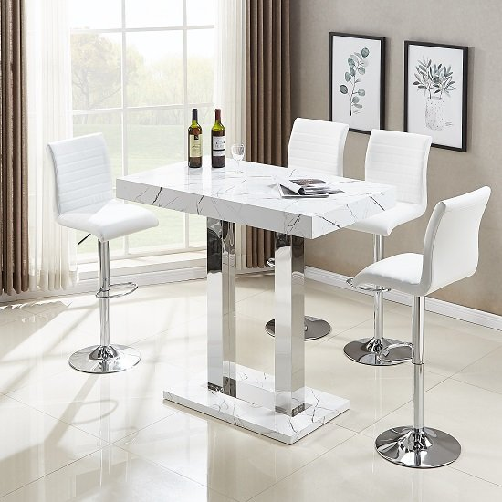 Vida Bar Table In Glossy Marble Effect With 4 Ripple White Bar Stools
