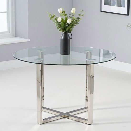 Vidro Glass Round Dining Table In Clear
