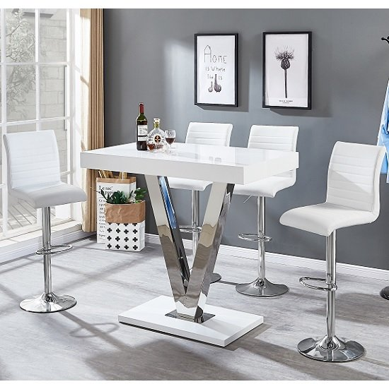 Vienna Bar Table In White Gloss And 4 Ripple White Bar Stools