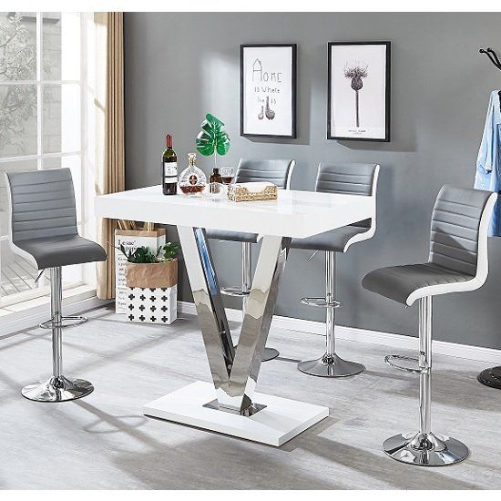 Vienna Bar Table In White Gloss And 4 Ritz Grey Bar Stools