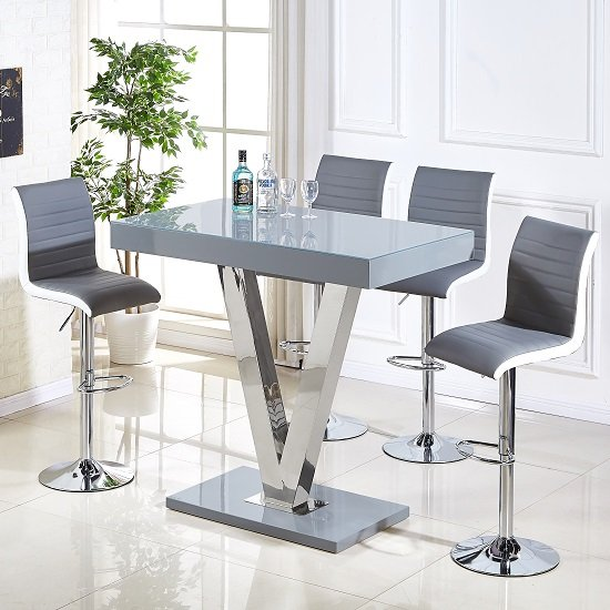 Vienna Glass Bar Table In Grey Gloss And 4 Ritz Bar Stools