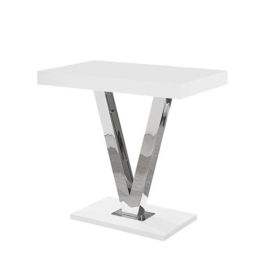 Vienna Bar Table Rectangular In White Gloss And Stainless Steel