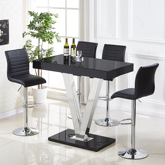 Vienna Glass Bar Table In Black Gloss And 4 Ripple Bar Stools