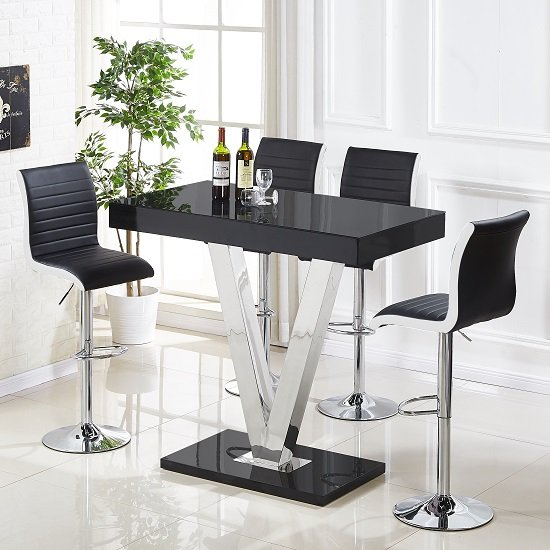 Vienna Glass Bar Table In Black Gloss And 4 Ritz Bar Stools