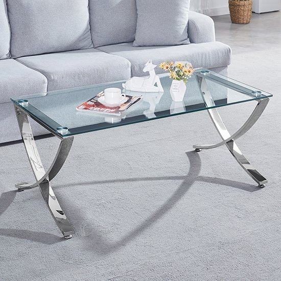 Vienna Clear Glass Coffee Table With Angular Chrome Legs