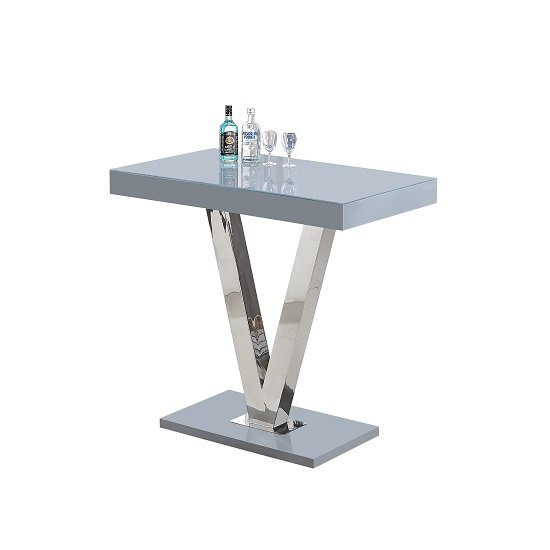 Vienna Glass Bar Table In Grey Gloss And Stainless Steel