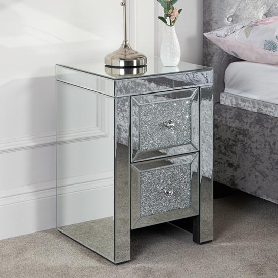 Vienna Glass Bedside Cabinet In Mirrored With 2 Drawers