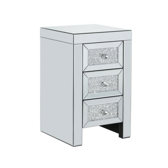 Vienna Glass Bedside Cabinet In Mirrored With 3 Drawers_2