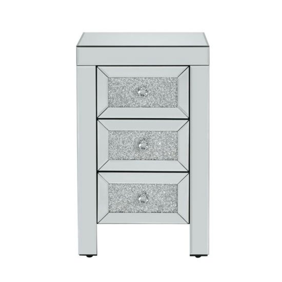 Vienna Glass Bedside Cabinet In Mirrored With 3 Drawers_3