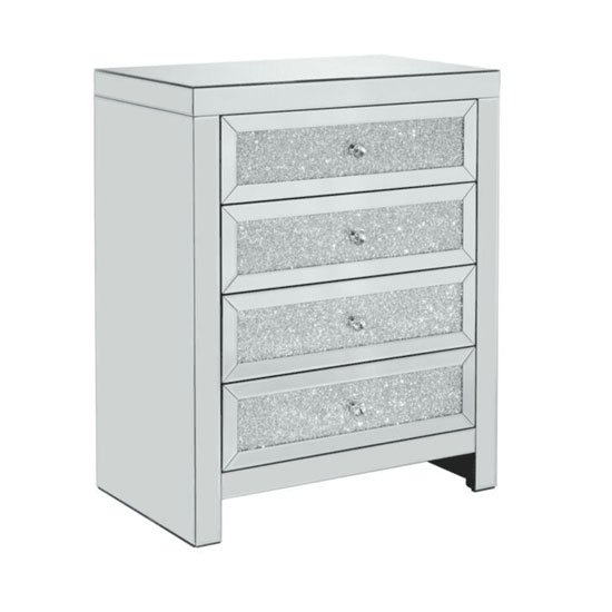 Vienna Glass Chest Of Drawers In Mirrored With 4 Drawers_2