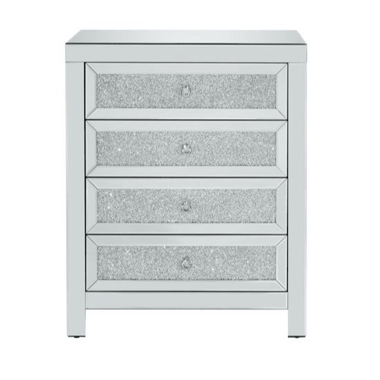 Vienna Glass Chest Of Drawers In Mirrored With 4 Drawers_3