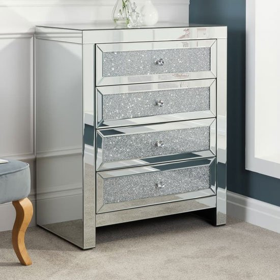 Vienna Glass Chest Of Drawers In Mirrored With 4 Drawers_1