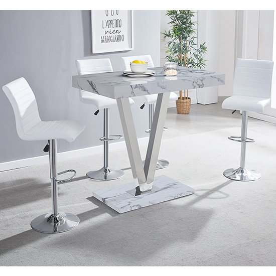 Vienna Gloss Bar Table In Diva Print With 4 White Ripple Stools