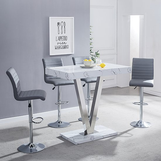 Vienna Gloss Bar Table In Vida Print With 4 Grey Ripple Stools