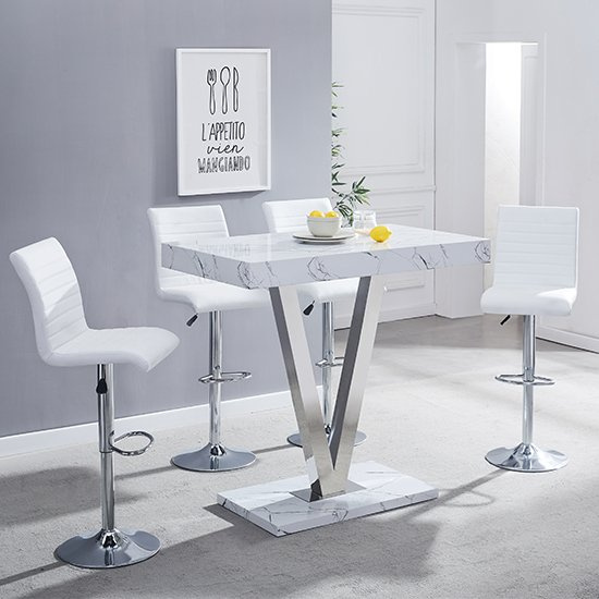 Vienna Gloss Bar Table In Vida Print With 4 White Ripple Stools