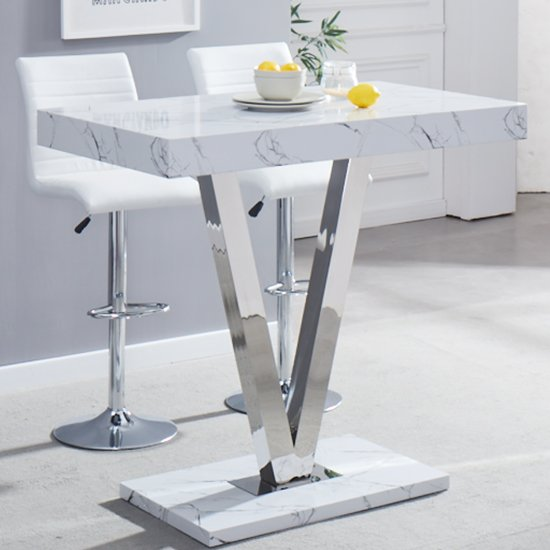 Vienna High Gloss Bar Table With Vida Print