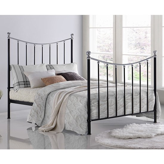 View Vienna metal double bed in black with chrome details