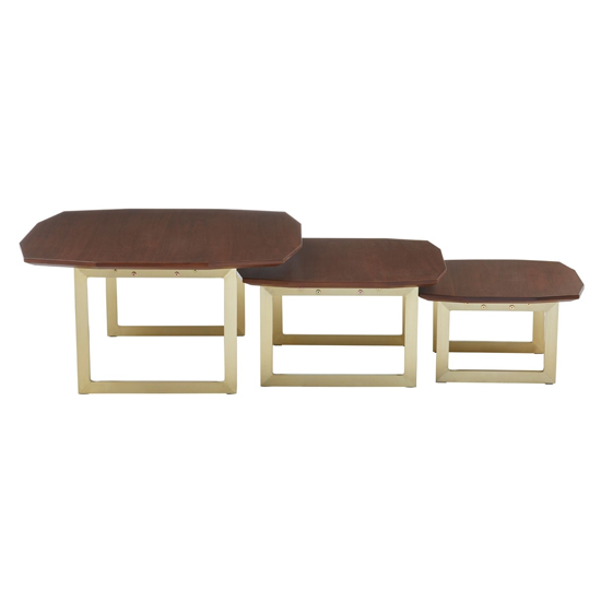 Vigap Set Of 3 Nesting Tables In Walnut With Gold Metal Legs