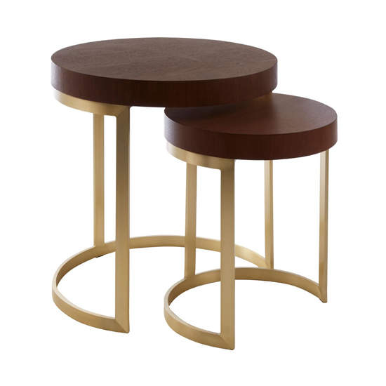 Vigap Wooden Nesting Tables In Walnut With Gold Metal Legs