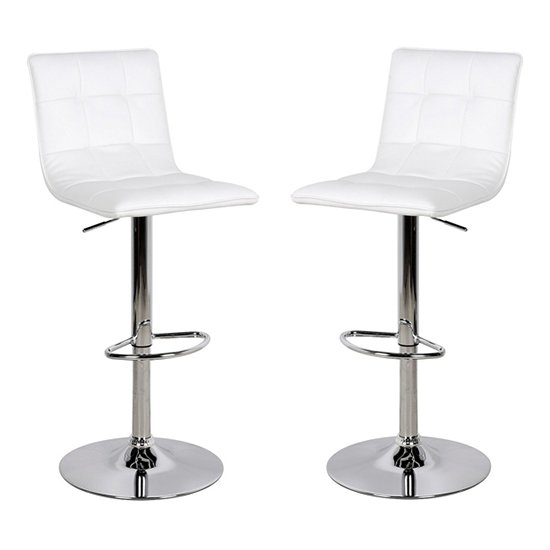 Vigo White Faux Leather Bar Stool In Pair