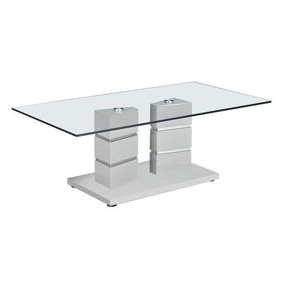 Vigo Glass Coffee Table With Polished Stainless Steel Base