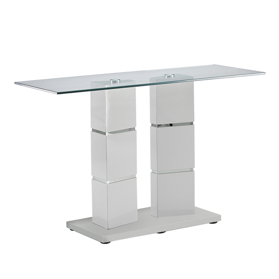 Vigo Glass Console Table With Polished Stainless Steel Base