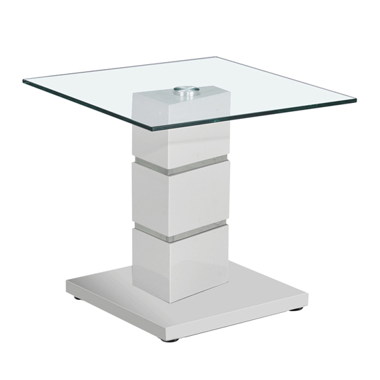Vigo Glass End Table With Polished Stainless Steel Base