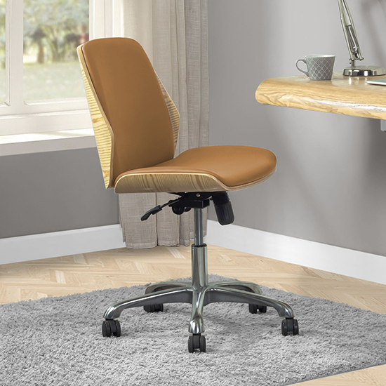 View Vikena faux leather office chair in oak and tan