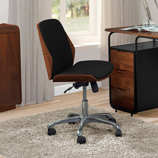 View Vikena faux leather office chair in walnut and black