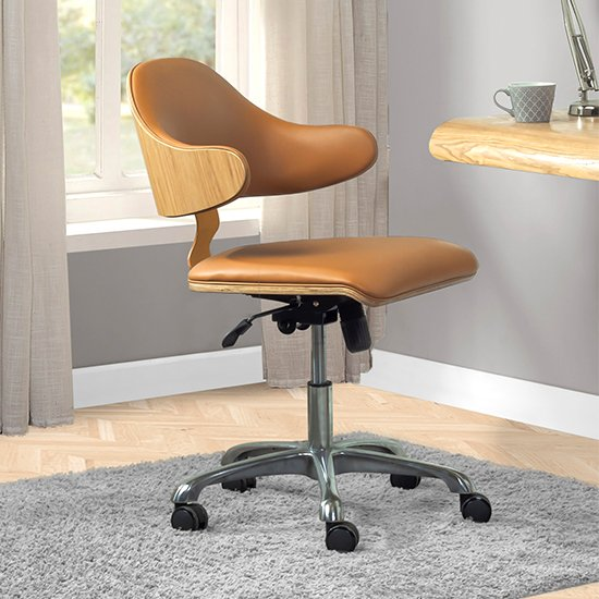 View Vikena swivel faux leather office chair oak and tan