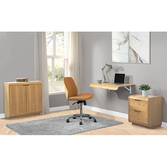 Vikena Wooden Filing Cabinet In Oak With 2 Doors_4