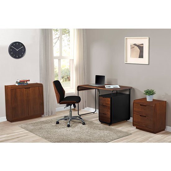 Vikena Wooden Filing Cabinet In Walnut With 2 Doors_4