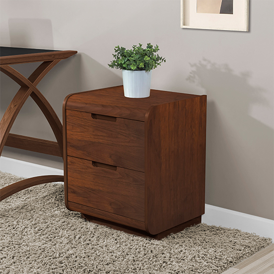 Vikena Wooden Pedestal Storage Unit In Walnut With 2 Drawers