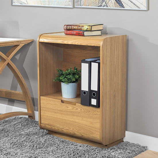 Vikena Wooden Short Bookcase In Oak With Drawer