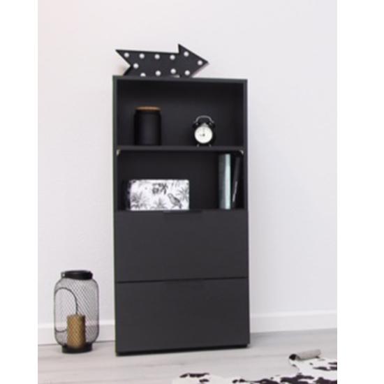 Vikix Wooden 1 Door 2 Drawers Storage Cabinet In Black