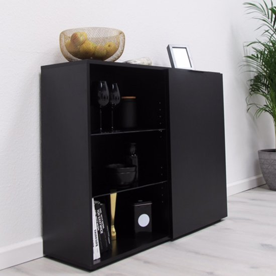 Vikix Wooden 1 Door 2 Shelves Bar Cabinet In Black