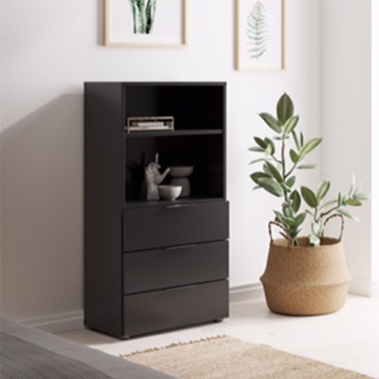 Vikix Wooden 1 Shelf 3 Drawers Storage Cabinet In Black