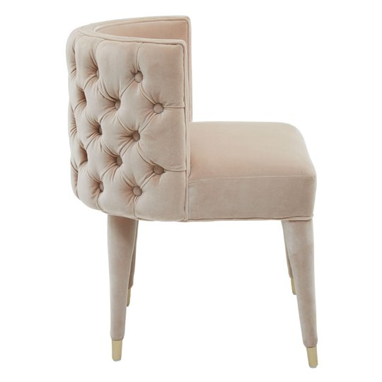 Sadalsuud Beige Velvet Feature Chair With Wooden Legs    _3