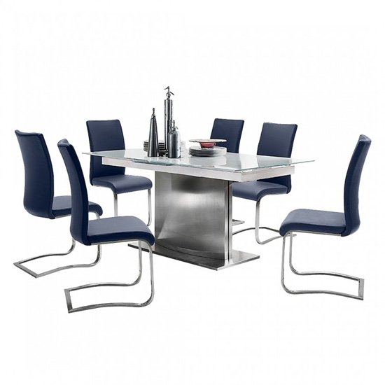 Helio Extendable Glass Dining Table With 6 Arco Black Chairs