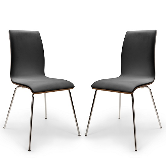 Vilmar Bentwood Dining Chair In Black And Walnut In A Pair