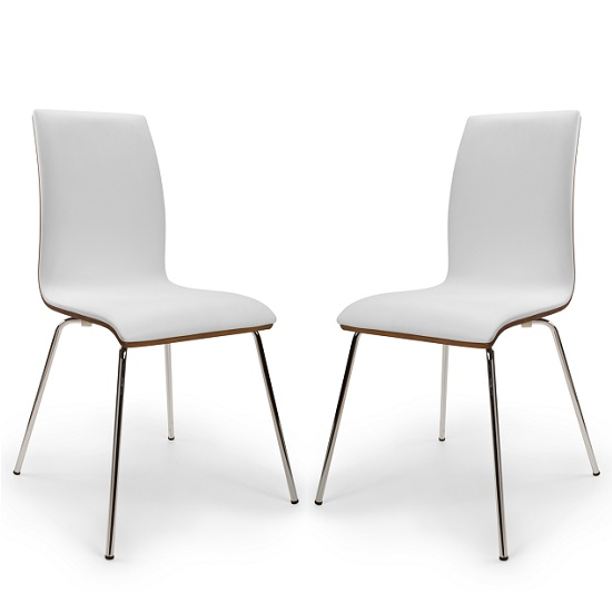 Vilmar Bentwood Dining Chair In White And Walnut In A Pair