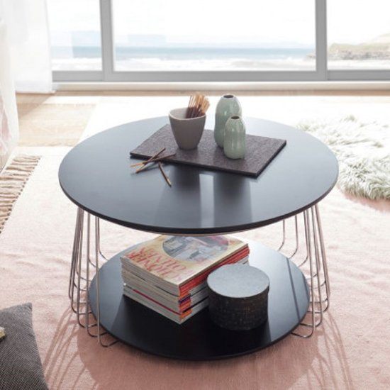 Vilnius Large Round Wooden Coffee Table In Black